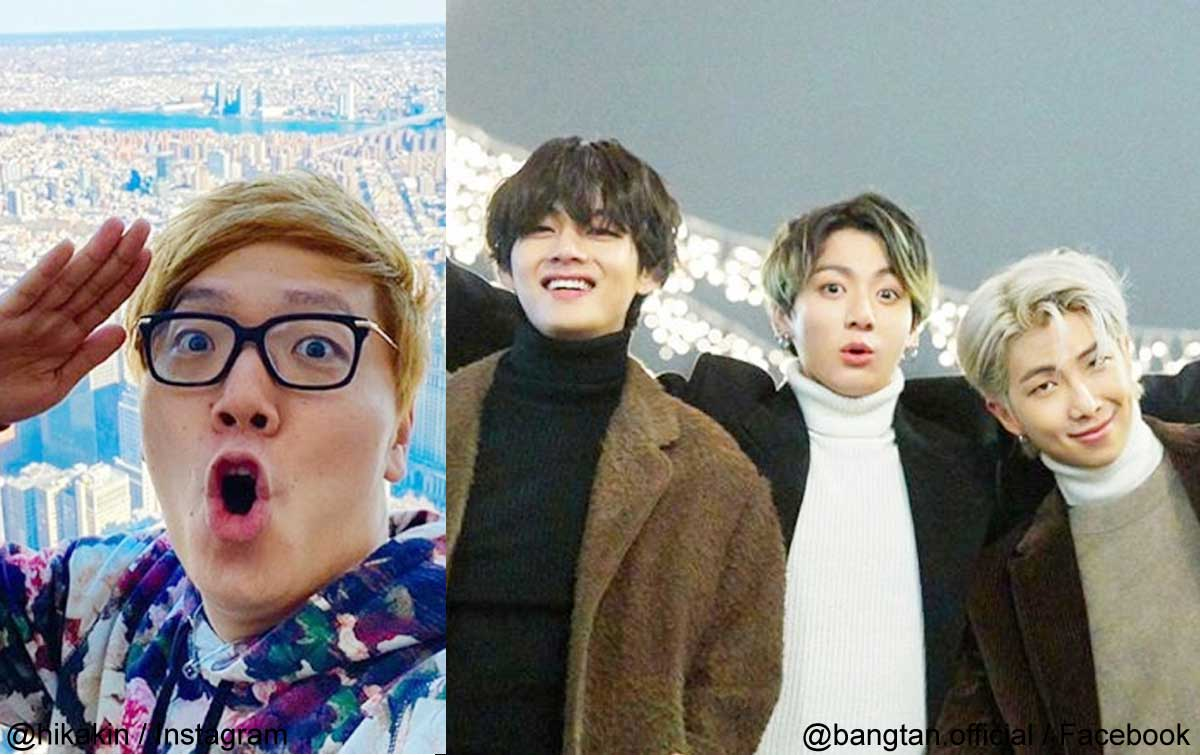 (左より)ヒカキン、BTS V、ジョングク、RM