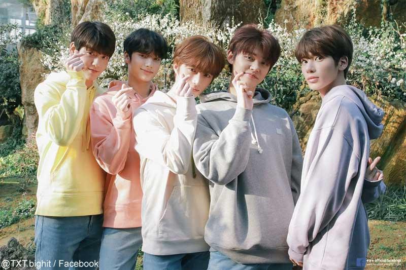 デビュー時写真:スビン、ヒュニンカイ、ボムギュ、ヨンジュン、テヒョン(右)
