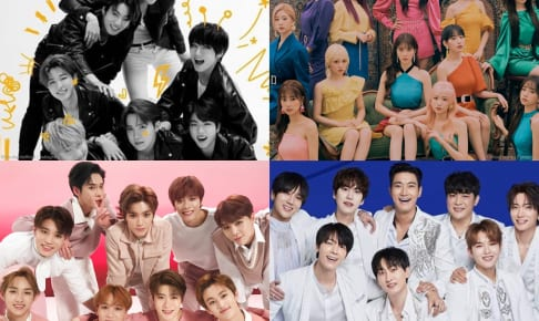 BTS(写真左上)、IZ*ONE(写真右上)、NCT 127(写真左下)、SUPER JUNIOR(写真右下)