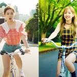NiziU「Make you happy」MV(左)、TWICE「LIKEY」MV
