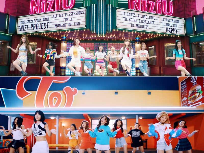グループのロゴが飾られたダイナー前で踊るシーンも / YouTube ※TWICE(下)は「Wake Me Up」MV