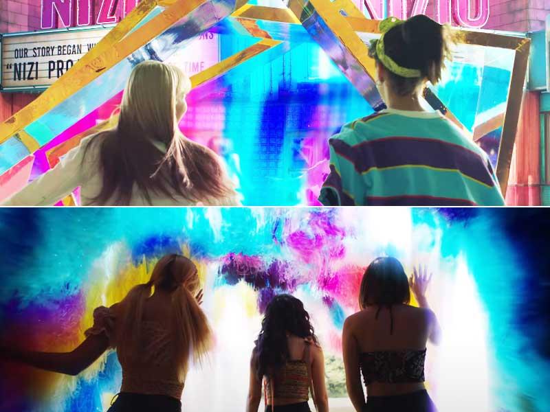 ネオンカラーのトンネルをくぐり抜けると別の場所へと到着 / YouTube  ※TWICE(下)は「MORE & MORE」MV