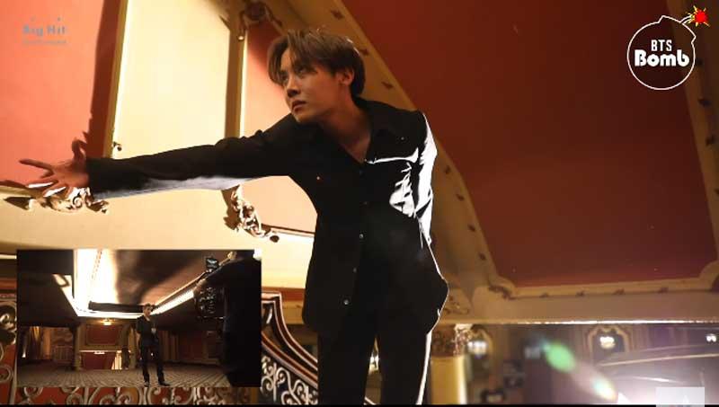 RMのシーンで影を演じるJ-HOPE(BANGTANTV/YouTube)