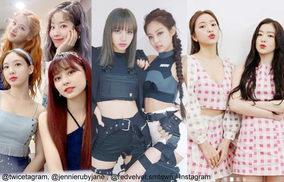 左からTWICE、BLACKPINK、Red Velvet