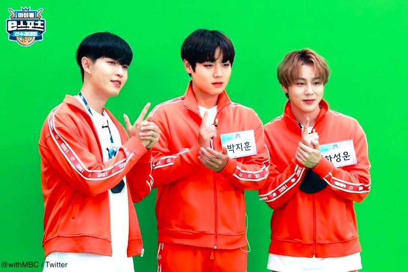 韓国テレビ放送局MBCで放送された「アイドルスター選手権大会」にチームで出演したWanna One出身メンバーソロ組の3人(左からキム・ジェファン、パク・ジフン、ハ・ソンウン)