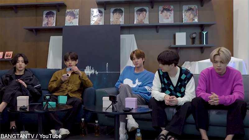 (左から)BTS ジョングク、V、ジン、シュガ、ジミン