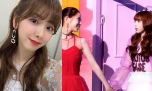 NiziU ミイヒ(右)、デビュー曲MV中の話題のシーン(左)