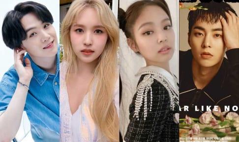 BTS シュガ、TWICE ミナ、BLACKPINK ジェニー、EXO シウミン(右)