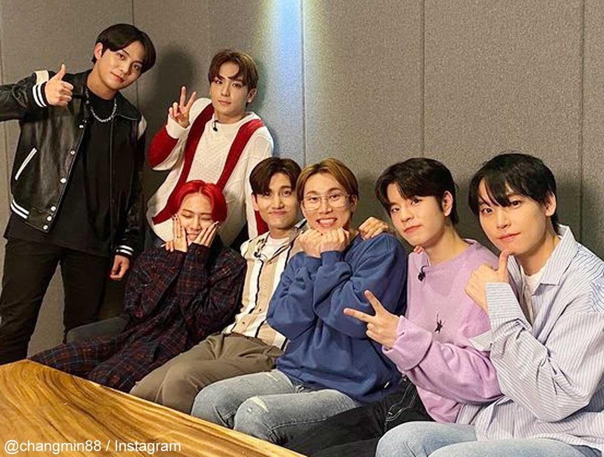 『KINGDOM』出演者たち(左からATEEZ ジョンホ、THE BOYZ ヒョンジェ、iKON ドンヒョク、東方神起 チャンミン、BTOB ウングァン、Stray Kids スンミン、SF9 インソン)